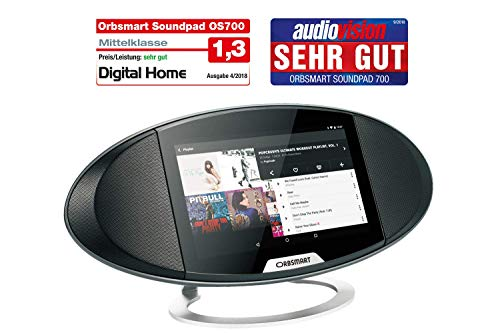 Orbsmart Soundpad 700 Android Internetradio 7-Zoll (17,8cm) Smart Display Hub/Webradio/Küchenradio/Büroradio (Octacore CPU, WLAN-ac, Bluetooth 4.0, Stereo-Lautsprecher, Spotify, YouTube, Skype)