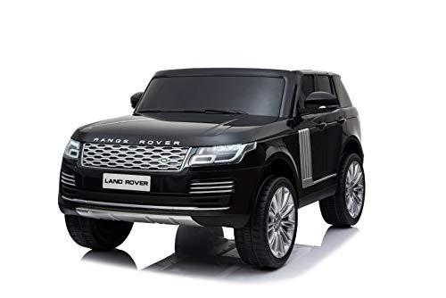 RIRICAR Electric Ride-On Range Rover, Black, Double Leather Seat, LCD Display with USB Input, 4x4 Drive, 2x 12V7Ah Battery, EVA Wheels, Key start