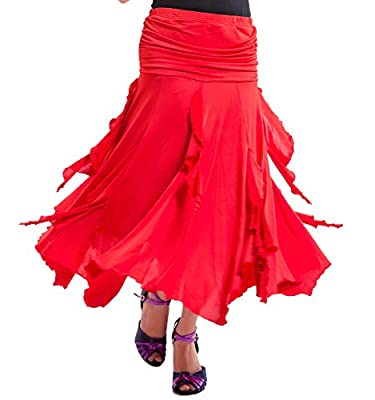 Whitewed Foxtrot Latin Flamenco American Smooth Ballroom Dance Skirts Costumes