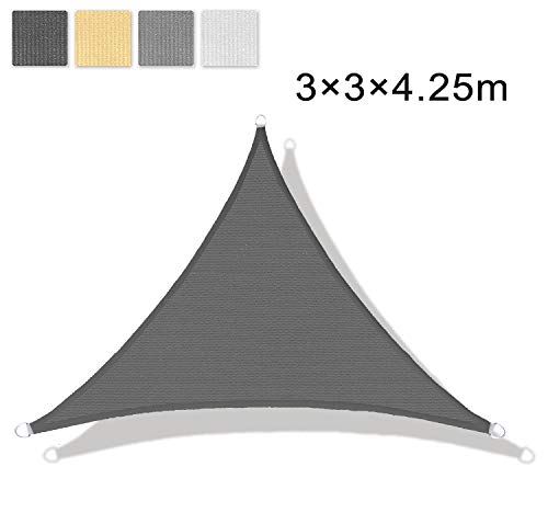 LOVE STORY Voile d'ombrage (HDPE) Triangulaire 3 x 3 x 4.25m Anthracite Protection des Rayons UV pour Terrasse Camping Extérieur...