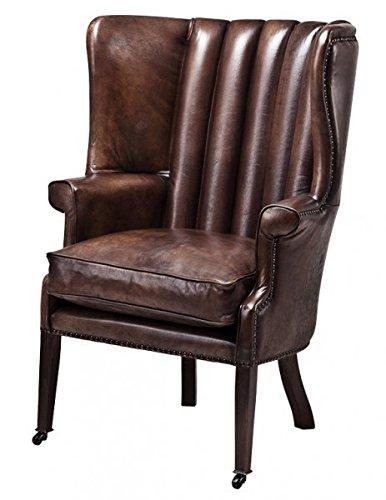 Casa Padrino Echtleder Ohrensessel Elegance Chesterfield Vintage Dunkelbraun - Sessel mit echtem Leder