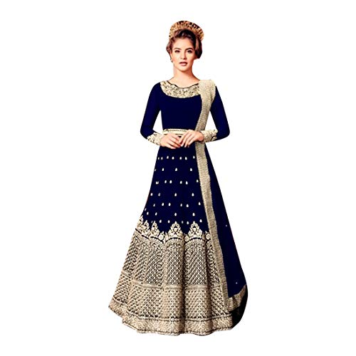 Bollywood Cocktail Abendkleid Designer Schwere gestickte Royal Blue Silk Georgette Anarkali Anzug...