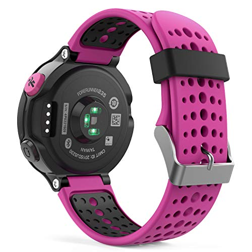 MoKo Watch Band Compatible with Garmin Forerunner 235, Soft Silicone Replacement Watch Band fit Garmin Forerunner 235/235 Lite/220/230/620/630/735XT/Approach S20/S6/S5 - Rose RED & Black