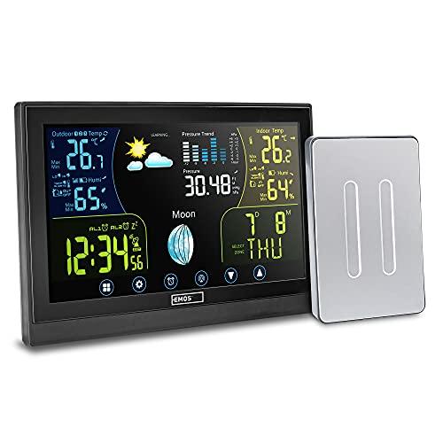 Wetterstation Funk mit Außensensor , Touchscreen Farbdisplay, DCF Funkuhr mit Wecker, Innen- und Außentemperatur, Barometer, Hygrometer, Mondphase, intelligente Wettervorhersage