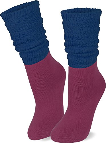 normani 2 Paar Casual Couch Yoga Socken mit raffbarem Slouchschaft Farbe Aubergine Größe 39/42
