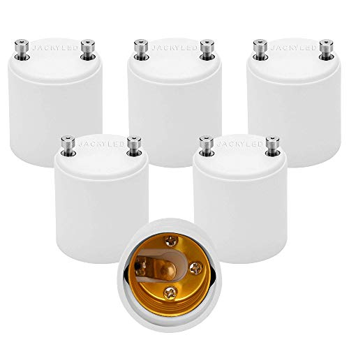 JACKYLED GU24 to E26 Adapter 6-pack Heat Resistant Up to 200℃ Fire Resistant Converts GU24 Pin Base Fixture to E26 E27 Standard Screw-in Socket