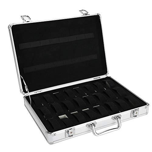 Hongzer 24 Griglie Valigia per Orologio in Alluminio, Custodia Rigida per Orologio in Lega di Alluminio, Scatola portaoggetti per Orologio Scatola per Orologio, Custodie per Orologi
