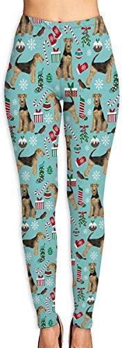LVOE TTL Pantalon de Yoga Airedale Terrier Chien de Noël Fitness Power Flex Pantalon de Yoga Leggings