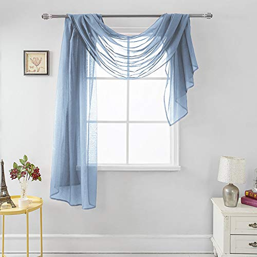 """MEMIAS Luxury Window Sheer Elegant Voile Curtain Scarf for Home, Birthday Party, Wedding Decoration, 1 Panel 54"""" W x 144"""" L, Quite Blue"""