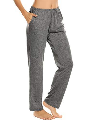 Pantalones de pijama para mujer, pantalones largos, pantalones de pijama, pantalones de pijama, pantalones de ocio, pantalones con dos bolsillos gris XL