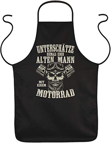 Tini - Shirts Grill-Schürze Biker Sprüche - Biker-Motiv Kochschürze : Unterschätze Niemals einen Alten Mann mit einem Motorrad - Motorrad-Schürze