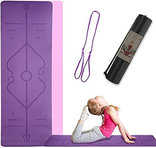 VrLunsur Tappetino da Yoga , Appetino da Yoga Imbottito e Antiscivolo Fitness Pilates e Ginnastica con Cinturino, Materiale TPE, 183 x 61 x 0.6 cm (Violetta)