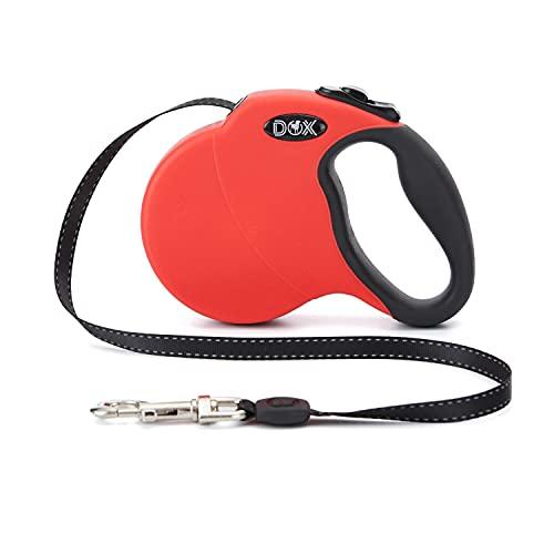 DDOXX Correa Perro Enrollable Reflectante Tamaños de Correas para Perros |Perros Pequeños y Grandes | Correa Perro Extensible | Accesorios para Perros | Rojo XS | 3m | hasta 8 kg