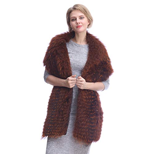 URSFUR Winter Real Fox Fur Long Scarf for Women-Cozy Fur Shawl Wraps,Neck Warm Fur Collar for Party/Wedding-Brown