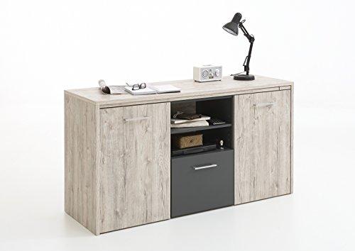 wohnschoen-zuhause Sideboard Schreibtisch Computer Kommode Liam in sandeiche-anthrazit