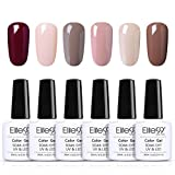 Elite99 Vernis Semi permanent Vernis gel Lot de 6 Vernis à Ongles brillants Nail Gel UV LED Soakoff Kit Pour Ongle, 10ml kit8
