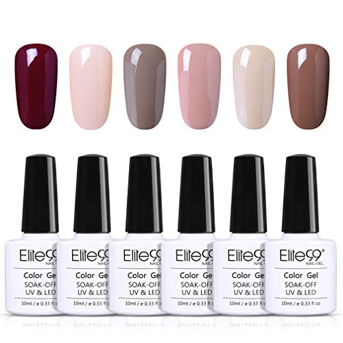 Elite99 UV-nagellak Naakt, nude gel-nagellak UV-LED, kleurenset voor nagel ontwerp gel-lak, manicureset, losweken gel nagellak voor nail art set 6pcs