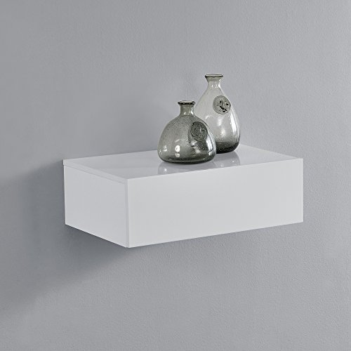 [en.casa] Mesita de Noche de Pared con un cajón - Lacado Brillo Blanco - 46x30x15cm