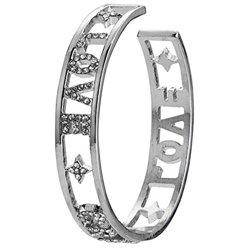 Amor loco Carta y las estrellas patrón de imitación pulsera de la vendimia brazalete abierto pulsera de plata joyería