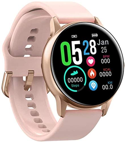 Smart Watch Fitness Tracker IP68 impermeable hombres y mujeres s color pantalla táctil completa Fitness Bluetooth ritmo cardíaco Monitoreo del sueño podómetro con iOS Android SMS Notification-C-C