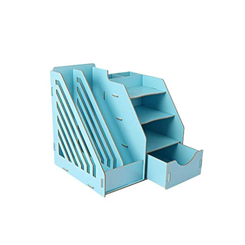 KANJJ-YU Periódico Oficina Bastidores suministra escritorio tipo periódico Bastidores cajón libro sostenedor creativo de estantería de documentos de escritorio estante de madera maciza (color: D1) Ofi