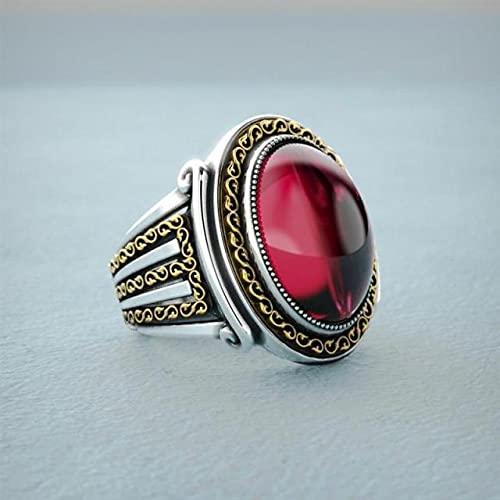 YYSD Anillo de Plata de Ley 925 para Hombre, joyería turca Hecha a Mano de Piedra de rubí de circonita ámbar Pura Pulida