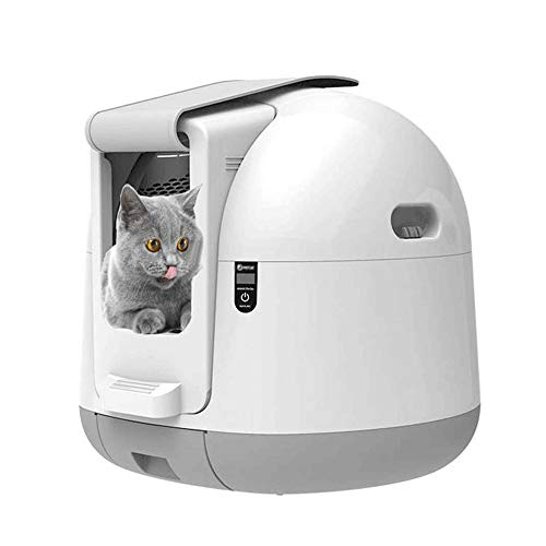 Sdesign Gato Inteligente WC, Caja de Arena del Gato automático Inducción Rotary de Limpieza del Robot Arena for Gatos Grandes de la litera del Gatito de autolimpieza Box