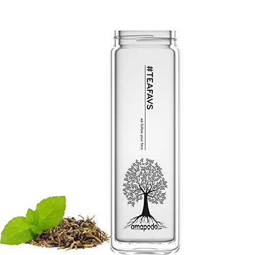 amapodo Trinkflasche aus Glas doppelwandig, Teeflasche Ersatzglas - Tee Flasche einzeln 400ml, Tea Maker Glass (Tea Tree - Design)