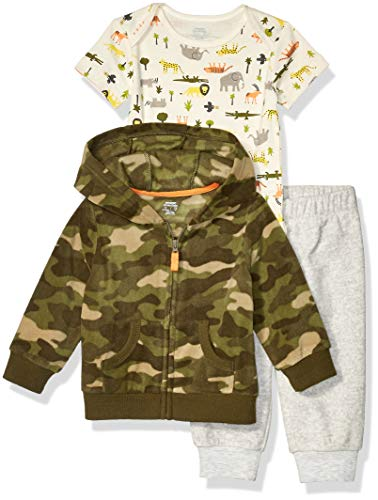 Amazon Essentials 3-Piece Microfleece Hoodie Set Infant-and-Toddler-Pants-Clothing-Sets, Safari, Bebé prematuro