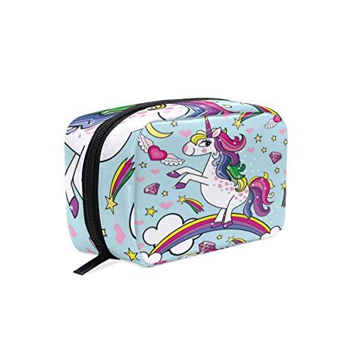 Mnsruu Trousse de maquillage portable Motif licorne et cheval arc-en-ciel