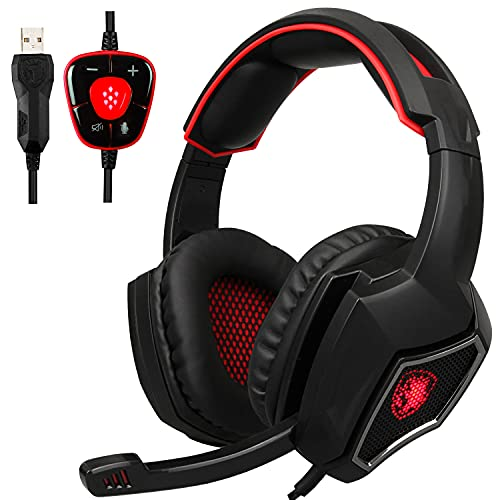 [New USB Computer Headset with Microphone] Spirit Wolf Over Ear 7.1 Surround Sound PC Gaming Headset with Noise Cancelling/Breathing Light, Dark red