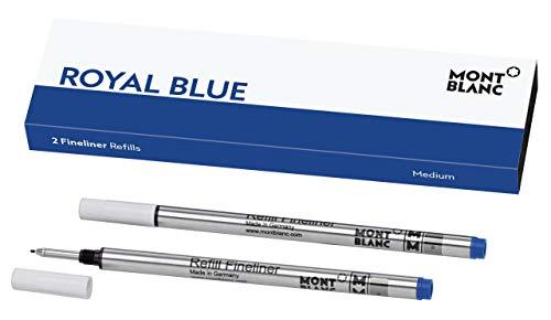 Montblanc 124499 Recambios para Fineliners y Rollerballs de tamaño M – Recargas de alta calidad en color Royal Blue, 1 paquete x 2 Recambios