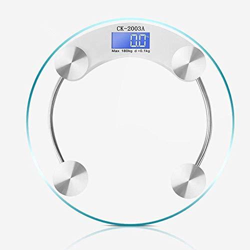 Báscula digital de baño báscula de peso, diseño redondo y pasos de puesta en marcha de gran tamaño, pantalla LED, equilibrio de peso, 180 kg, transparente YXF99