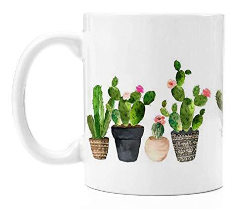 Ceramic Coffee Mug - 11 Ounce Novelty White Tea Cup - Cactus - Office, Home, Birthday Gift
