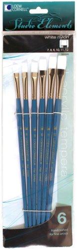 Loew-Cornell 1024945 Studio Elements White Nylon Long Handle Flat Large Brush Set