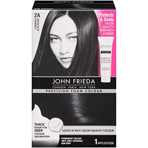 John Frieda Precision Foam Colour Permanent Hair Colour Kit Luminous Blue Black [2A] 1 Each...