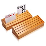 Exqline Wood Playing Card Holders Tray Racks Organizer Set of 2 for Kids Seniors Adults - 9.84In 3.1Inch Latest Version Portable Enough for Bridge Canasta UNO Card Playing