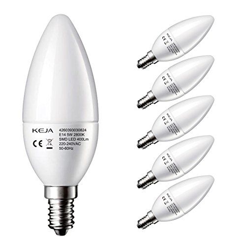 Preisvergleich Produktbild LED FACTORY 5W E14 LED Lampen 400lm,  Warmweiß,  Ersatz für 50W Glühlampen,  2800K,  160° Abstrahlwinkel,  LED Leuchtmittel,  Kerzenlampen,  LED Birnen,  Kerzenleuchten,  5er Pack