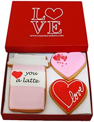 Gourmet Valentines Day Cookie Gift Basket Hand Decorated Vanilla Sugar Cookie Greeting Card product image