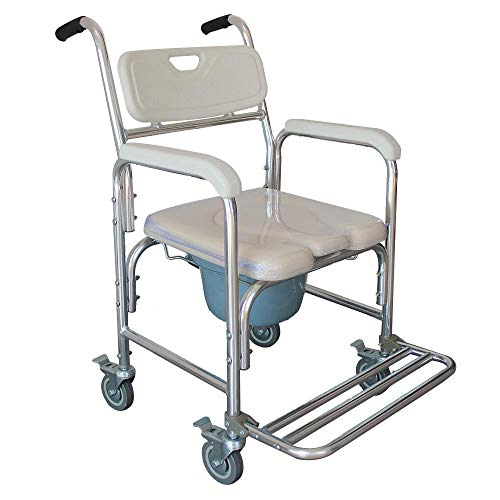 NUFR Home Aluminum Shower Chair Bedside Commode w/Casters and Padded Seat Rolling Transport Chair Lockable Wheelchair Bedside Toilet Seat for Handicap and Seniors US WarehouseAC159