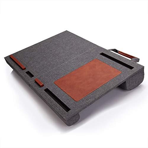 折りたたみ 膝上 テーブル PC クッション テーブル ベッドテーブル マウスパッド付 持ち運び可能 ノートパソコン タブレット用 ラップトップデスク パソコンデスク PCデスク ひざ上 ラップトップデスク テレワーク (グレー)