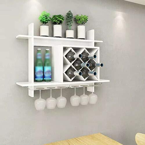 Botellero colgante con soporte para copas de vino, de madera, para colgar en la pared, color blanco