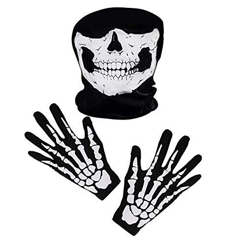 iPobie Weiß Skelett Handschuhe und Schädel Gesichtsmaske Geist Skelett Set für Erwachsene Halloween Tanzen Party Kostüm