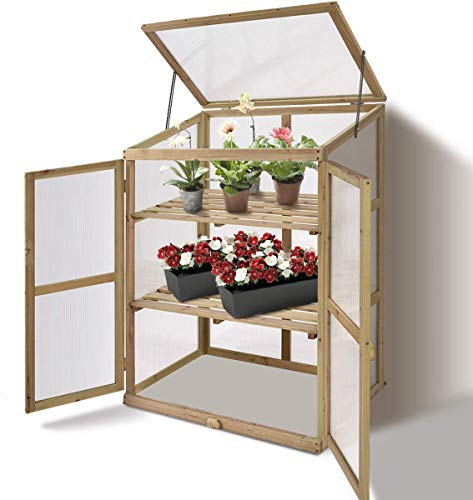 """HAPPYGRILL Greenhouse Wooden Cold Frame Garden Greenhouse (30""""X22.5""""X43"""")"""