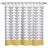OuopBgbkkjn Duschvorhang, geometrisches Muster, Sunlit Chevron Triangel, 183 x 183 cm, Weiß/Gelb/Grau