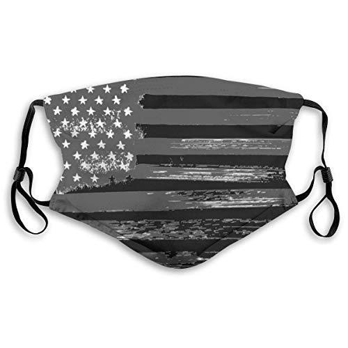 Funda facial reutilizable – Unisex Ear Loop Face Cover Cover Bandera Nacional Americana Negro Blanco, Anti Polvo Caliente Ciclismo Seguridad S