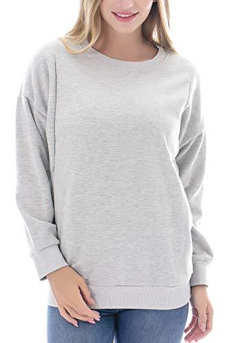 Smallshow Women's Fleece Maternity Nursing Sweatshirt Breastfeeding Tops Small Light Grey