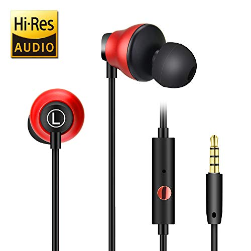 In Ear Kopfhörer mit Mikrofon, ARTISTE DC1 Dynamic und Keramik In Ear Headset mit Hi-Res Klangqualität, Anti-Wicklung, Bequem In Ear Kopfhörer für PC, PS4, Kinder, Handy