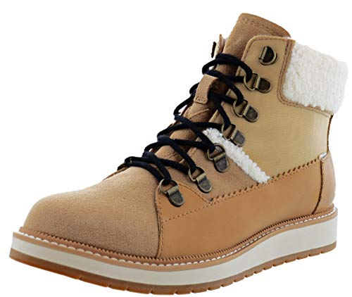 TOMS Womens Mesa Leather Waterproof Lace-Up Boot Beige 6.5 Medium (B,M)