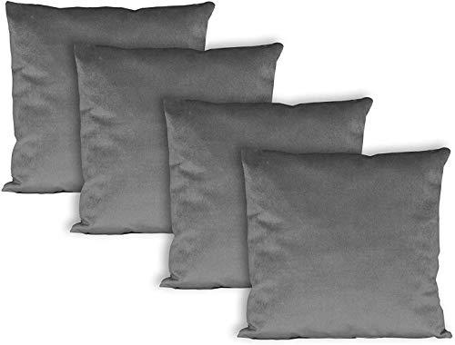 Milanino Dekokissen 45x45 mit Füllung und Bezug | 4 Stück Couchkissen Sofakissen Set | samtweiche Zierkissen mit Reißverschluss | quadratische Deko Kissen für Wohnzimmer- Sofa & Couch (Grau)
